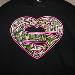 Super Camo Girl Black Pullover Hoodie Large
